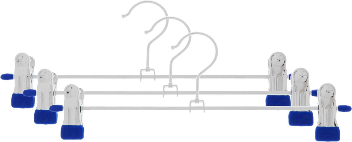 Набор вешалок для брюк и юбок Attribute Hanger Neo, цвет: синий, стальной, 3 шт98299571Набор Attribute Hanger Neo состоит из 3 вешалок, изготовленных из стали и ПВХ. Каждая вешалка оснащена двумя зажимами, которые предназначены для брюк и юбок. Вешалка - это незаменимая вещь для того, чтобы ваша одежда и одежда ваших детей всегда оставалась в хорошем состоянии. Длина вешалки: 30 см.