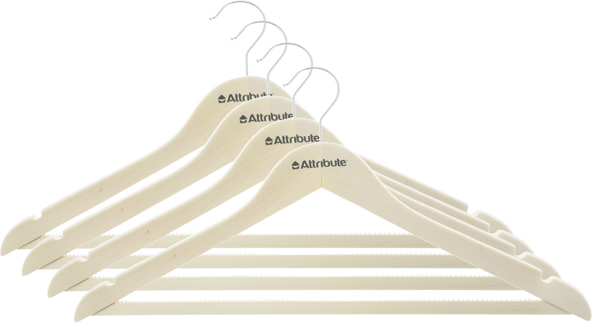 Набор вешалок для одежды Attribute Hanger Siluet, цвет: кремовый, 4 шт. AHP224AHP224Набор Attribute Hanger Siluet состоит из 4 вешалок для одежды, выполненных из стали и дерева. Изделия оснащены перекладинами с нескользящим ПВХ-покрытием и двумя выемками.Вешалка - это незаменимая вещь для того, чтобы ваша одежда всегда оставалась в хорошем состоянии.Комплектация: 4 шт.Размер вешалки: 45 х 22,5 х 1 см.