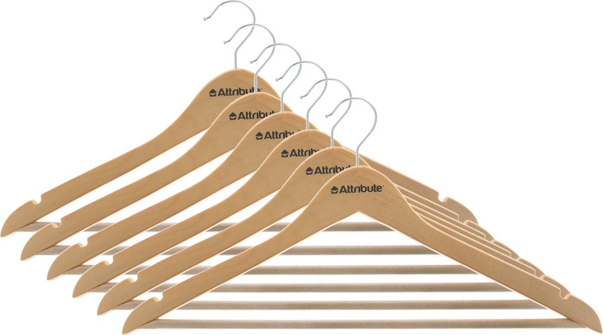 Набор вешалок для одежды Attribute Hanger Classic, прямые, 6 шт1004900000360Набор Attribute Hanger Classic состоит из 6 вешалок для одежды, выполненных из стали и дерева. Изделия оснащены перекладинами с нескользящим ПВХ-покрытием и двумя выемками.Вешалка - это незаменимая вещь для того, чтобы ваша одежда всегда оставалась в хорошем состоянии.Комплектация: 6 шт.Размер вешалки: 44 х 22 х 1 см.