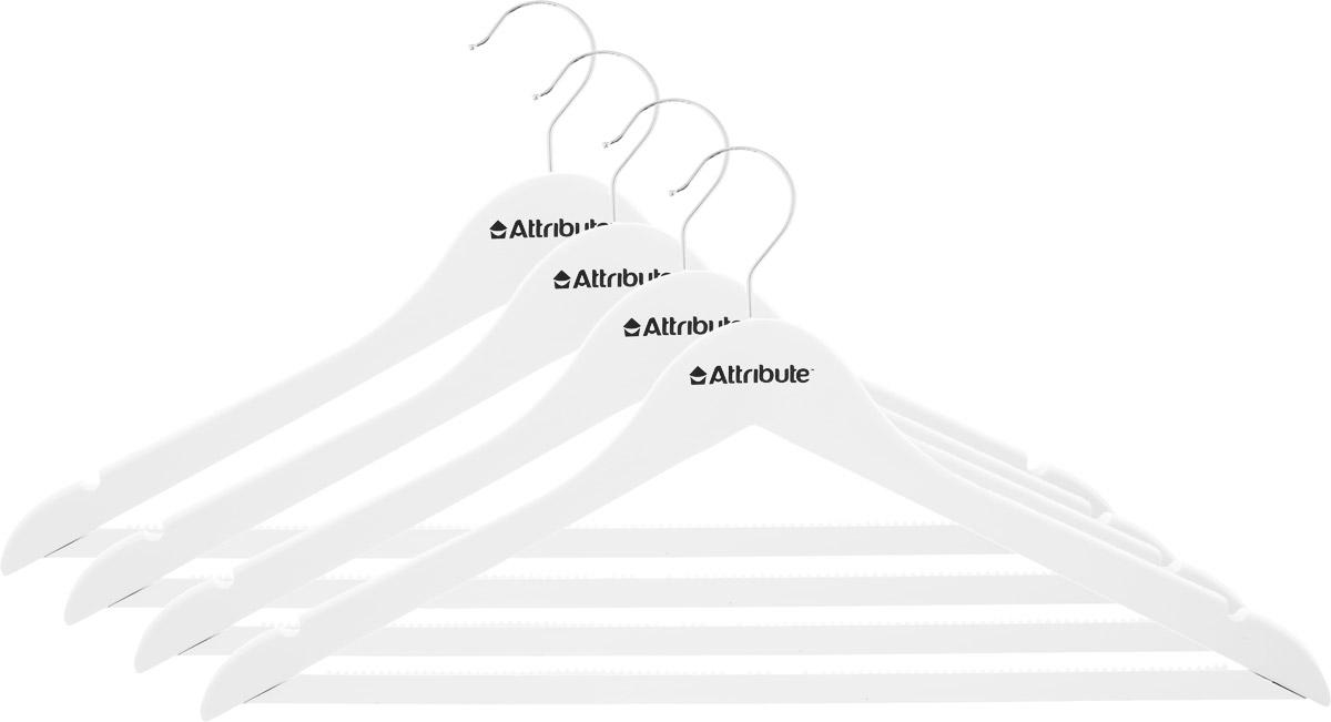 Набор вешалок для одежды Attribute Hanger Siluet, цвет: белый, 4 шт41619Набор Attribute Hanger Siluet состоит из 4 вешалок для одежды, выполненных из стали и дерева. Изделия оснащены перекладинами с нескользящим ПВХ-покрытием и двумя выемками.Вешалка - это незаменимая вещь для того, чтобы ваша одежда всегда оставалась в хорошем состоянии.Комплектация: 4 шт.Размер вешалки: 44 х 22 х 1 см.