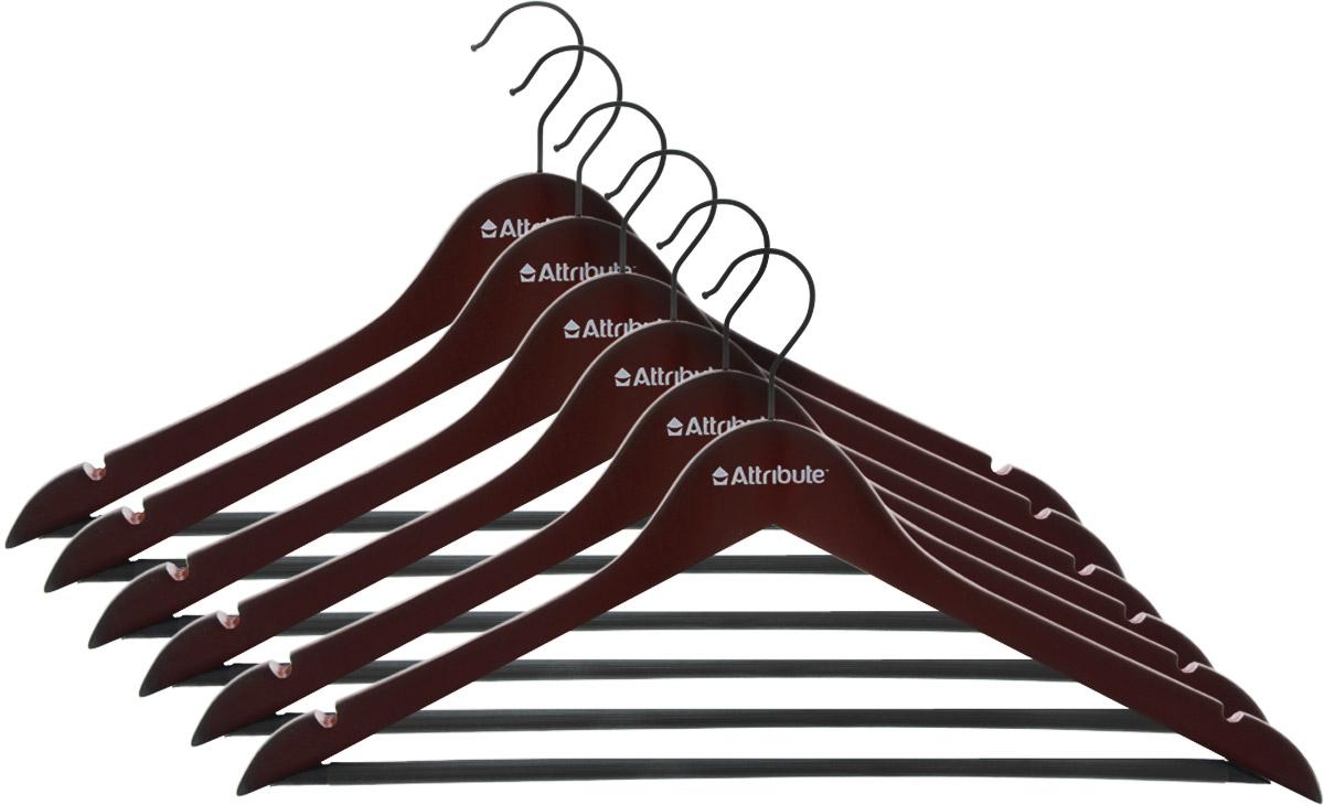 Набор вешалок для одежды Attribute Hanger Redwood, прямые, 6 штБрелок для ключейНабор Attribute Hanger Redwood состоит из 6 вешалок для одежды, выполненных из стали и дерева. Изделия оснащены перекладинами с нескользящим ПВХ-покрытием и двумя выемками.Вешалка - это незаменимая вещь для того, чтобы ваша одежда всегда оставалась в хорошем состоянии.Комплектация: 6 шт.Размер вешалки: 44 х 22 х 1 см.