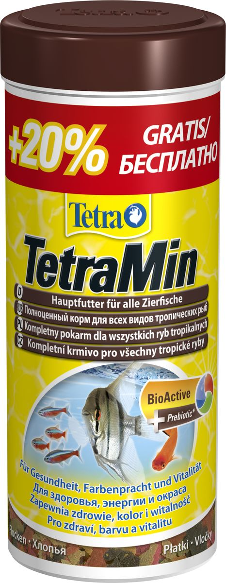 Корм Tetra TetraMin, для всех видов рыб, хлопья, 300 мл0120710TetraMin – основной корм для долгой и здоровой жизни всех видов тропических рыб. С новой формулой для гарантированно чистой воды. С запатентованной формулой BioActive - для продолжительной и здоровой жизни ваших питомцев. Содержит 40 видов отборного высококачественного сырья Тщательно отобранная комбинация из высококачественных питательных веществ, витаминов и минералов для полноценного, здорового питания легко усваивается всеми видами тропических рыб.Рыба и побочные рыбные продукты, зерновые культуры, дрожжи, экстракты растительного белка, моллюски и ракообразные, масла и жиры, сахар (олигофруктоза 1%), водоросли, минеральные вещества.