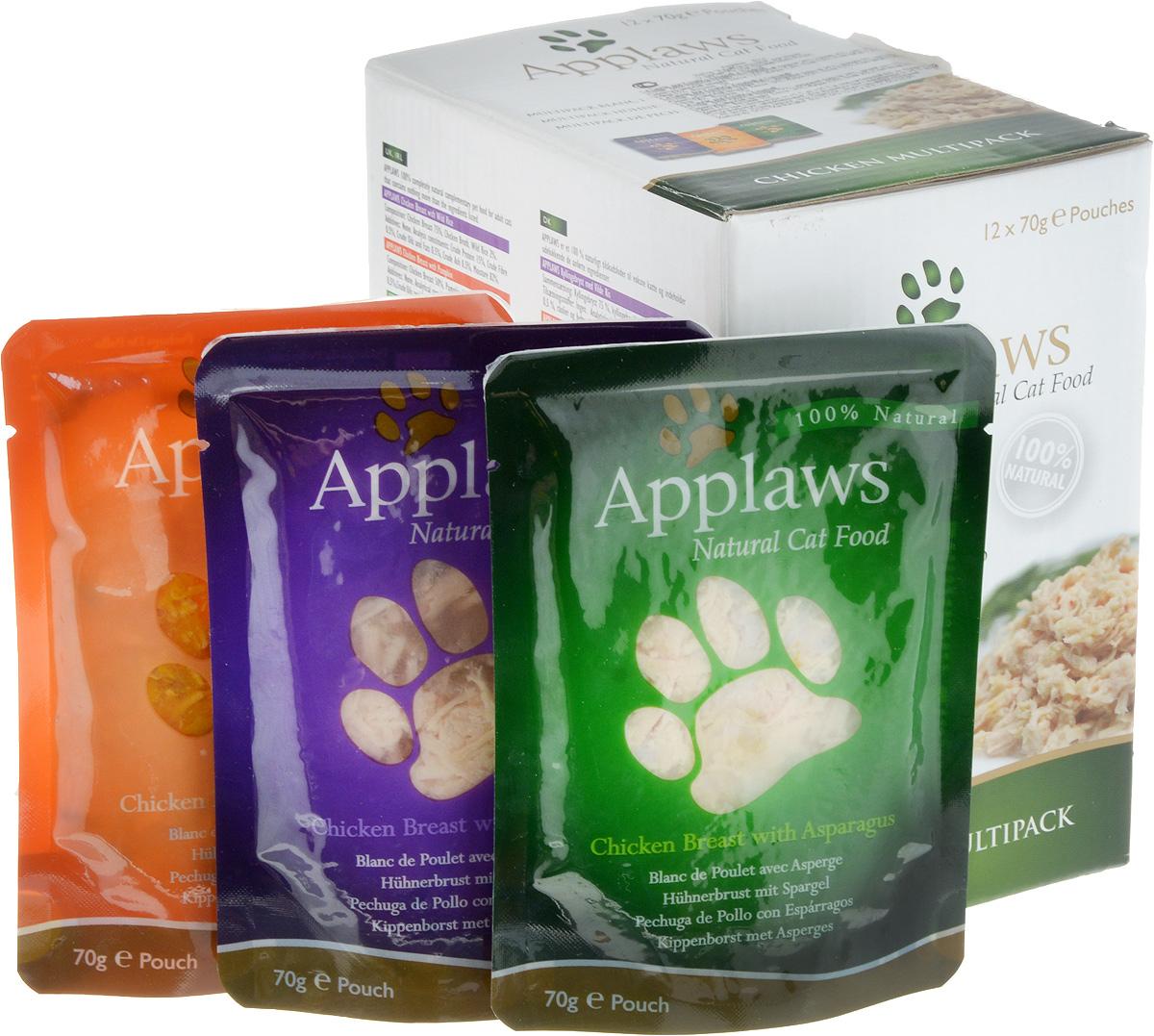 Набор консервов для кошек Applaws Куриное ассорти, 12 шт, 840 г57466Для приготовления любого блюда Appalws использует мясо животных свободного выгула, выращенных на фермах Англии. Уникальный дизайн упаковки прекрасно заменяет миску для вашего любимца.Вся линейка консервов приготовлена только из свежих и качественные ингредиентов. Консервы не содержат красителей, усилителей вкуса и запаха, продуктов ГМО.В набор входят:Консервы для кошек с курицей и тыквой - 4 шт.Фасовка: 70 г.Консервы для кошек с курицей и спаржей - 4 шт.Фасовка: 70 г.Консервы для кошек с курицей - 4 шт.Фасовка: 70 г.Общий вес: 840 г.Товар сертифицирован.