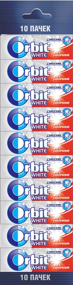 Orbit White Классический жевательная резинка без сахара, 10 пачек по 13,6 г0120710Жевательная резинка Orbit White Классический без сахара способствует поддержанию здоровья зубов: удаляет остатки пищи, способствует уменьшению зубного налета, нейтрализует вредные кислоты, усиливает процесс реминерализации эмали.Употребление жевательной резинки каждый раз после еды способствует поддержанию чистоты и здоровья зубов в дополнение к уходу за ротовой полостью с помощью зубной щетки.Уважаемые клиенты! Обращаем ваше внимание, что полный перечень состава продукта представлен на дополнительном изображении.