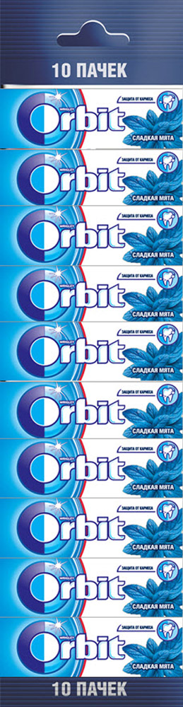 Orbit Сладкая мята жевательная резинка без сахара, 10 пачек по 13,6 г0120710Жевательная резинка Orbit Сладкая мята без сахара способствует поддержанию здоровья зубов: удаляет остатки пищи, способствует уменьшению зубного налета, нейтрализует вредные кислоты, усиливает процесс реминерализации эмали.Употребление жевательной резинки каждый раз после еды способствует поддержанию чистоты и здоровья зубов в дополнение к уходу за ротовой полостью с помощью зубной щетки.Уважаемые клиенты! Обращаем ваше внимание, что полный перечень состава продукта представлен на дополнительном изображении.