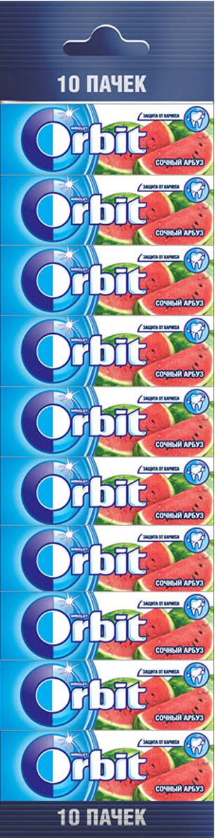 Orbit Сочный арбуз жевательная резинка без сахара, 10 пачек по 13,6 г0120710Жевательная резинка Orbit Сочный арбуз без сахара способствует поддержанию здоровья зубов: удаляет остатки пищи, способствует уменьшению зубного налета, нейтрализует вредные кислоты, усиливает процесс реминерализации эмали.Употребление жевательной резинки каждый раз после еды способствует поддержанию чистоты и здоровья зубов в дополнение к уходу за ротовой полостью с помощью зубной щетки.