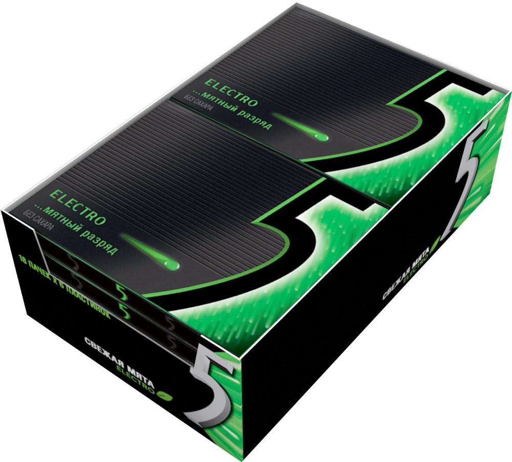 Wrigleys 5 Electro Мятный разряд жевательная резинка без сахара, 10 пачек по 31,2 г0120710Жевательная резинка Five Мятный разряд в формате пластинок со вкусом сладкой мяты. Обладает мягкой приятной текстурой и удивительно долгим вкусом, а стильная черная пачка легко помещается в кармане и в сумочке, не теряя форму.Содержит источник фенилаланина.