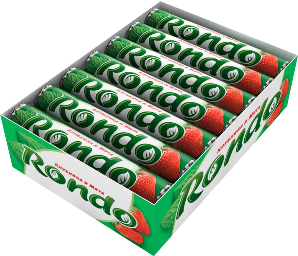 Rondo Клубника и мята освежающие конфеты, 14 пачек по 30 г4009900481113Конфеты Rondo с ароматом клубники и мяты освежают дыхание и делают день слаще! Уникальный продукт, созданный в 1996 году специально для российских потребителей, по-прежнему остается одним из любимых оружий против несвежего дыхания. Свежее дыхание облегчает понимание!Уважаемые клиенты! Обращаем ваше внимание, что полный перечень состава продукта представлен на дополнительном изображении.