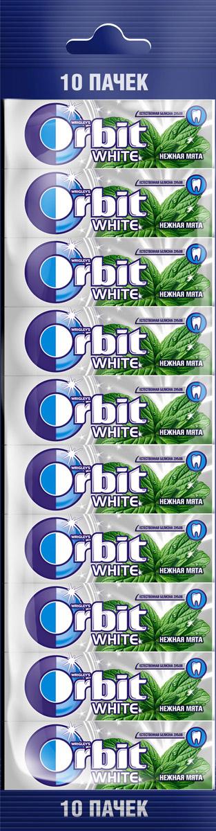 Orbit White Нежная мята жевательная резинка без сахара, 10 пачек по 13,6 г4009900503372Жевательная резинка Orbit White Нежная мята без сахара способствует поддержанию здоровья зубов: удаляет остатки пищи, способствует уменьшению зубного налета, нейтрализует вредныекислоты, усиливает процесс реминерализации эмали. Употребление жевательной резинки каждый раз после еды способствует поддержанию чистоты и здоровья зубов в дополнение к уходу за ротовой полостью с помощью зубной щетки.Содержит источник фенилаланина.