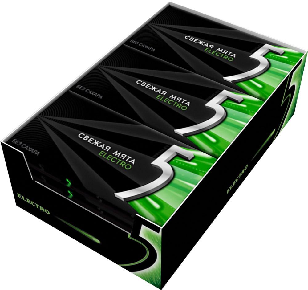 Wrigleys 5 Electro Свежая Мята жевательная резинка без сахара, 18 шт по 14,5 г0120710Новая компактная упаковка Five по доступной цене! Жевательная резинка Five в формате пластинок со вкусом сладкой мяты. Обладает мягкой приятной текстурой и удивительно долгим вкусом, а стильная черная пачка легко помещается в кармане и в сумочке, не теряя форму.