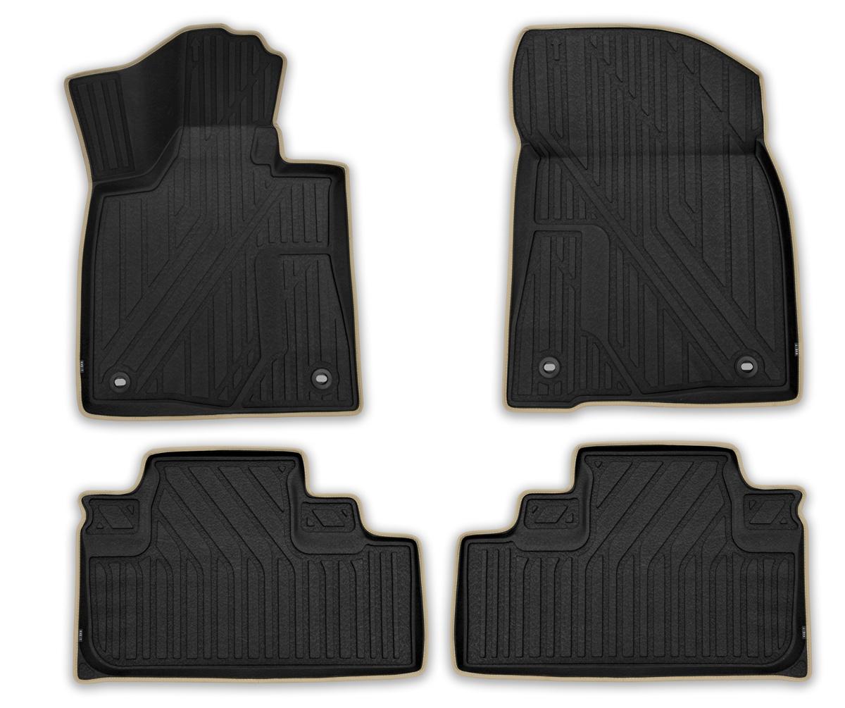 Набор автомобильных ковриков Kvest Премиум 3D, для Lexus RX 2015->, в салон, цвет: черно-серый, 4 шт14703003Набор автомобильных ковриков Kvest 3D Премиум отвечает высочайшему уровню комфорта и максимальной степени безопасности. При производстве автомобильных ковриков Kvest используется полистар - инновационный материал. Легкие и вместе с тем прочные коврики из этого полимера обладает повышенной устойчивостью к истиранию; сохраняет свои свойства в широком диапазоне температур (от -50°С до +50°С). Коврики не имеют запаха и абсолютно безопасны для человека; экологичны и пригодны для вторичной переработки.Коврики Kvest идеально повторяют геометрию салона автомобиля. Площадка отдыха левой ноги полностью закрыта ковриком, а высокий борт защищает не только пол, но и другие элементы салона. Ваша обувь остается максимально защищенной от грязи, воды и соляной смеси на протяжении всего пути благодаря объемной текстуре изделия. С автомобильными ковриками Kvest вы сможете забыть о неблагоприятных внешних условиях и сосредоточиться только на управлении автомобилем. Коврики надежно прикреплены к полу штатными фиксаторами, а уникальная нескользящая поверхность препятствует их смещению. Коврики Kvest обеспечат водителю и пассажирам максимальное удобство. Тщательно подобранный цвет ковриков отлично гармонирует с цветом салона. Эффект шагреневой кожи добавляет экстравагантности и подчеркивает статус вашего автомобиля. Края ковриков аккуратно и бережно обшиты лентой и вносят дополнительные эксклюзивные штрихи. Динамику и законченный вид интерьеру придает эргономичная текстура. Коврики Kvest, безусловно, идеальное дополнение к вашему автомобилю.