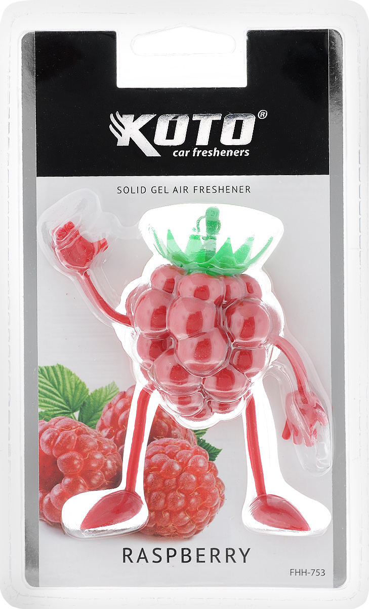 Ароматизатор автомобильный Koto Raspberry, гелевый, 50 гBF-107Автомобильный ароматизатор Koto Raspberry эффективно устраняет неприятные запахи и придает легкий приятный аромат. Сочетание геля с парфюмами наилучшего качества обеспечивает устойчивый запах. Кроме того, ароматизатор обладает элегантным дизайном. Изделие можно разместить на зеркале заднего вида, используя шнурок для подвеса.