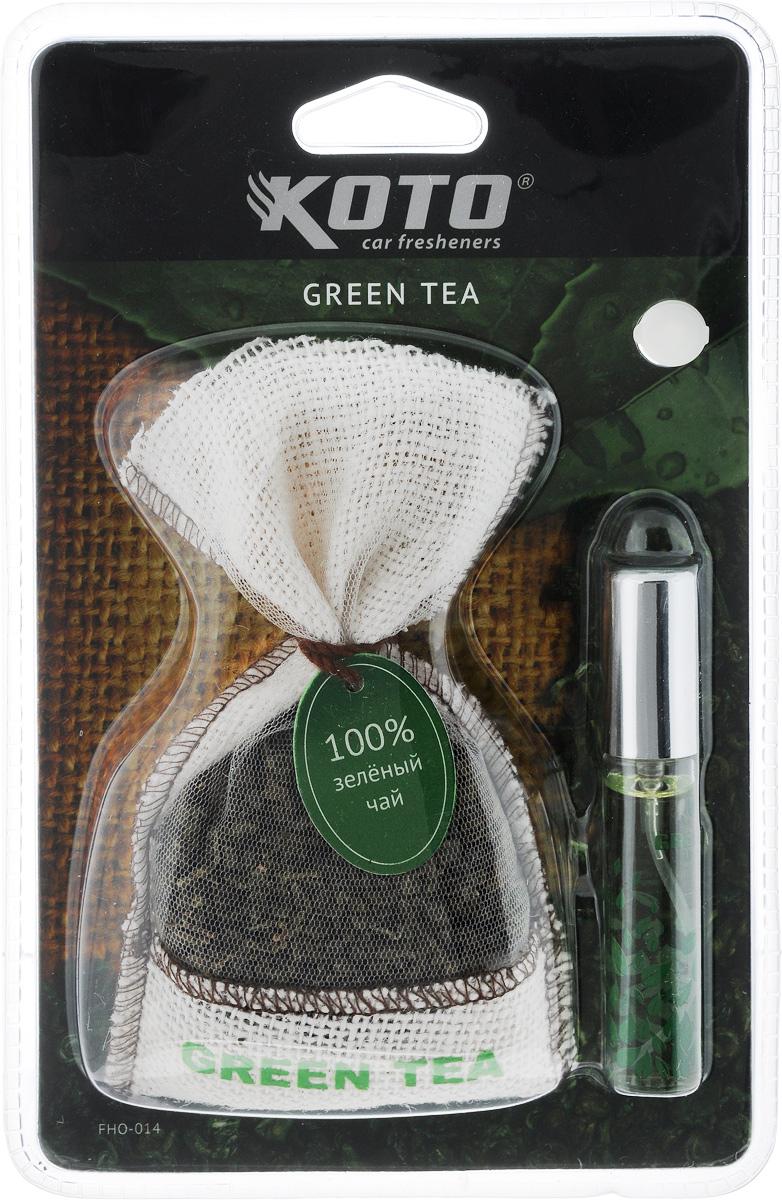 Ароматизатор автомобильный Koto Green teaCA-3505Ароматизатор Koto Green tea эффективно устраняет неприятные запахи и придает легкий приятный аромат. Он состоит из мешочка с зеленым чаем и флакона с жидким ароматизатором. Благодаря присоске, изделие легко размещается в автомобиле на зеркале заднего вида или на любой гладкой поверхности.Объем жидкого ароматизатора: 12 мл.Вес мешочка с зеленым чаем: 38 г.