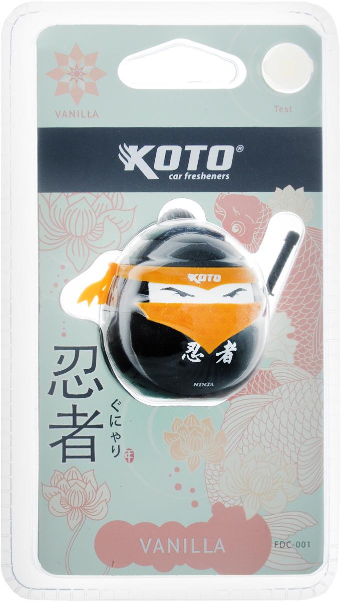 Ароматизатор автомобильный Koto Ниндзя. Vanilla, меловой, на дефлектор, 20 гK100Автомобильный ароматизатор Koto Ниндзя. Vanilla эффективно устраняет неприятные запахи и придает приятный аромат. Сочетание мела с парфюмами наилучшего качества обеспечивает устойчивый запах. Кроме того, ароматизатор обладает элегантным дизайном. Благодаря специальной конструкции, изделие крепится на дефлектор.