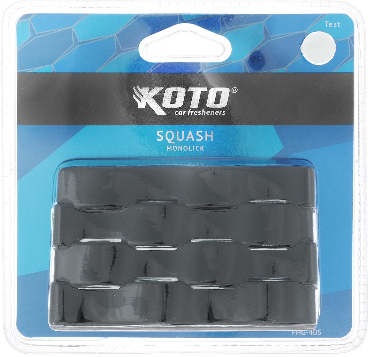 Ароматизатор автомобильный Koto Monolick. Squash, гелевый, 90 г80621Автомобильный ароматизатор Koto Monolick. Squash эффективно устраняет неприятные запахи и придает приятный аромат. Сочетание геля с парфюмами наилучшего качества обеспечивает устойчивый запах. Кроме того, ароматизатор обладает элегантным дизайном. Благодаря специальной конструкции, изделие крепится на горизонтальную поверхность.