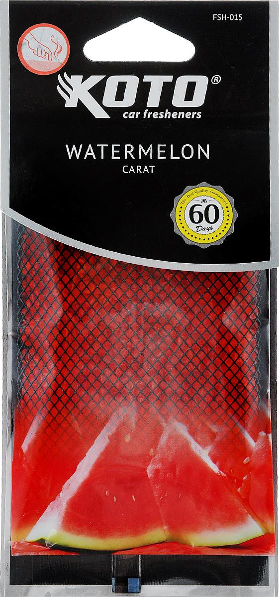 Ароматизатор автомобильный Koto Carat. Watermelon, гелевый, под сиденьеFPG-202Автомобильный ароматизатор Koto Carat. Watermelon эффективно устраняет неприятные запахи и придает легкий приятный аромат. Сочетание геля с парфюмами наилучшего качества обеспечивает устойчивый запах. Кроме того, ароматизатор обладает элегантным дизайном, поэтому будет гармонично смотреться в салоне любого автомобиля. Благодаря удобной конструкции, его можно положить под сиденье. Ароматизатор имеет продолжительный срок службы - до 60 дней. Его можно использовать не только в автомобиле, но и в домашних условиях.