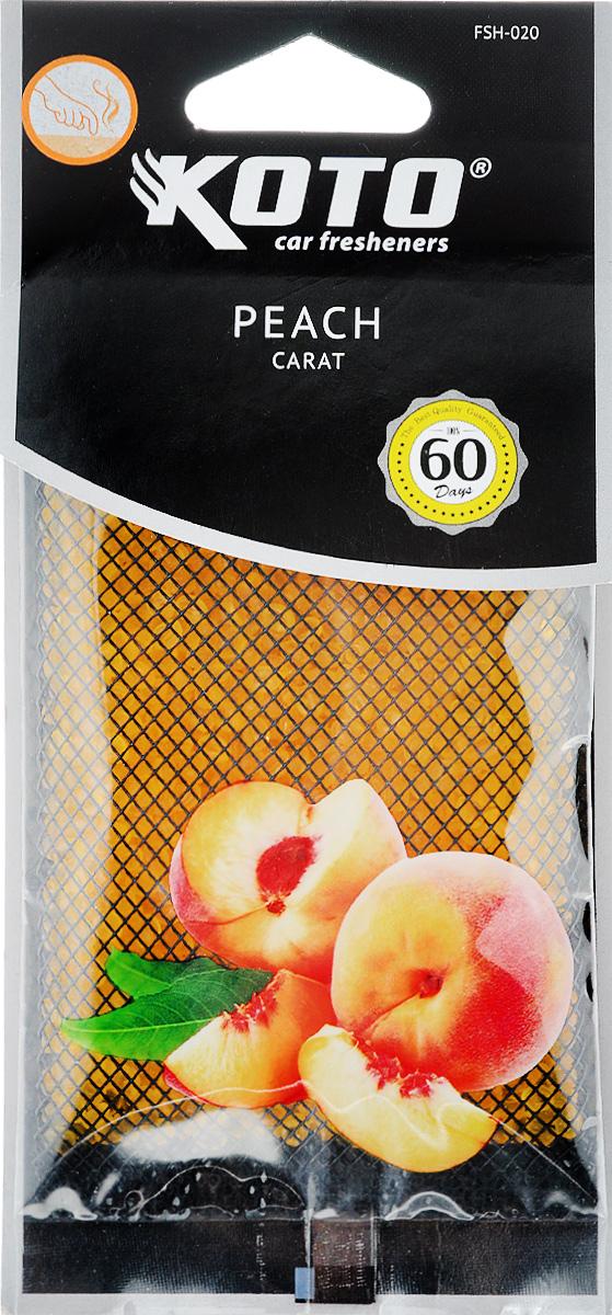 Ароматизатор автомобильный Koto Carat. Peach, гелевый, под сиденьеRC-100BPCАвтомобильный ароматизатор Koto Carat. Peach эффективно устраняет неприятные запахи и придает легкий приятный аромат. Сочетание геля с парфюмами наилучшего качества обеспечивает устойчивый запах. Кроме того, ароматизатор обладает элегантным дизайном, поэтому будет гармонично смотреться в салоне любого автомобиля. Благодаря удобной конструкции, его можно положить под сиденье. Ароматизатор имеет продолжительный срок службы - до 60 дней. Его можно использовать не только в автомобиле, но и в домашних условиях.