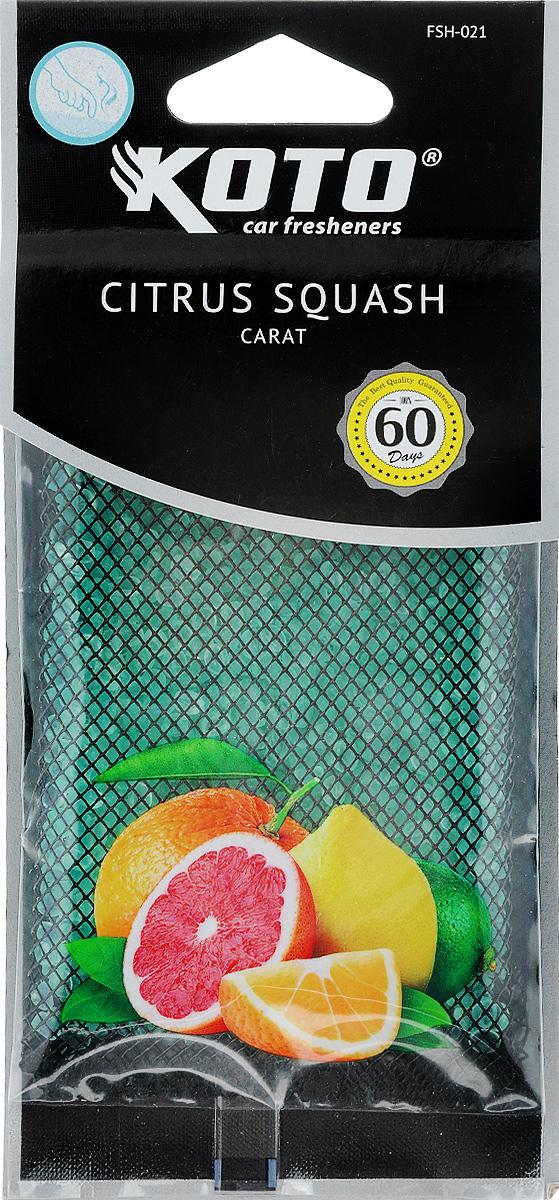 Ароматизатор автомобильный Koto Carat. Citrus squash, гелевый, под сиденьеTB 08Автомобильный ароматизатор Koto Carat. Citrus squash эффективно устраняет неприятные запахи и придает легкий приятный аромат. Сочетание геля с парфюмами наилучшего качества обеспечивает устойчивый запах. Кроме того, ароматизатор обладает элегантным дизайном, поэтому будет гармонично смотреться в салоне любого автомобиля. Благодаря удобной конструкции, его можно положить под сиденье. Ароматизатор имеет продолжительный срок службы - до 60 дней. Его можно использовать не только в автомобиле, но и в домашних условиях.