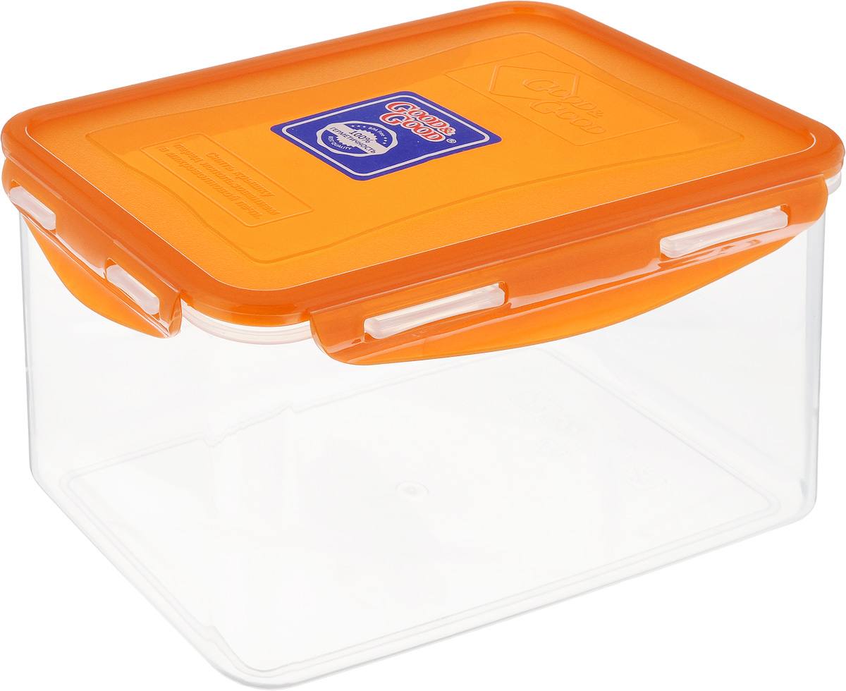 Контейнер пищевой Good&Good, цвет: прозрачный, оранжевый, 2,2 л контейнер пищевой good