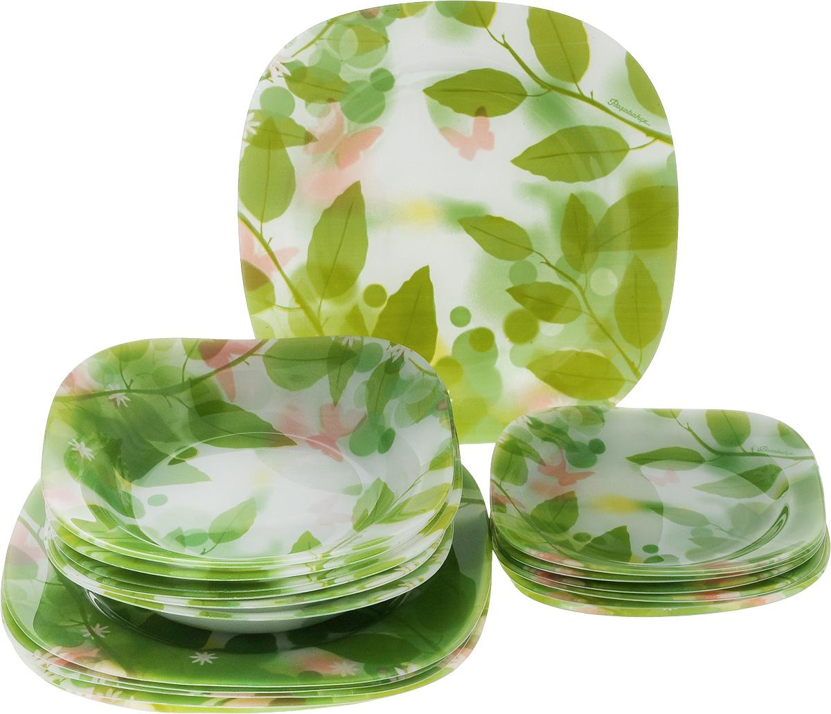 Набор тарелок Pasabahce Butterflies, 18 шт54 009312Набор Pasabahce Butterflies состоит из 6 десертных тарелок, 6 глубоких тарелок и 6 обеденных тарелок, выполненных из высококачественного натрий-кальций-силикатного стекла. Изделия предназначены для красивой сервировки различных блюд. Набор сочетает в себе изысканный дизайн с максимальной функциональностью. Размер десертной тарелки: 18,5 х 18,5 см.Высота десертной тарелки: 2 см.Размер обеденной тарелки: 26 х 26 см.Высота обеденной тарелки: 2 см.Размер глубокой тарелки: 21 х 21 см.Высота глубокой тарелки: 3,5 см.