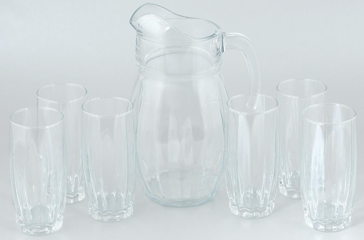 Набор для воды Pasabahce Dance, 7 предметовVT-1520(SR)Набор Pasabahce Dance состоит из шести стаканов и кувшина, выполненных из прочного натрий-кальций-силикатного стекла. Предметы набора предназначены для воды, сока и других напитков. Изделия сочетают в себе элегантный дизайн и функциональность. Благодаря такому набору пить напитки будет еще вкуснее.Набор для воды Pasabahce Dance прекрасно оформит праздничный стол и создаст приятную атмосферу. Такой набор также станет хорошим подарком к любому случаю. Объем графина: 1,7 л. Высота графина: 24,5 см. Объем стакана: 320 мл. Высота стакана: 14 см.