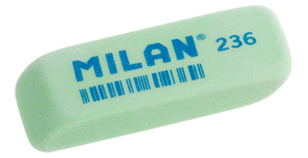 Milan Ластик 236 цвет зеленыйFS-36054Ластик Milan станет незаменимым аксессуаром на рабочем столе не только школьника или студента, но и офисного работника.Ластик имеет прямоугольную форму с двумя скошенными краями, которые предназначены для более точного стирания.Ластик обеспечивает высокое качество коррекции и не повреждает поверхность бумаги.