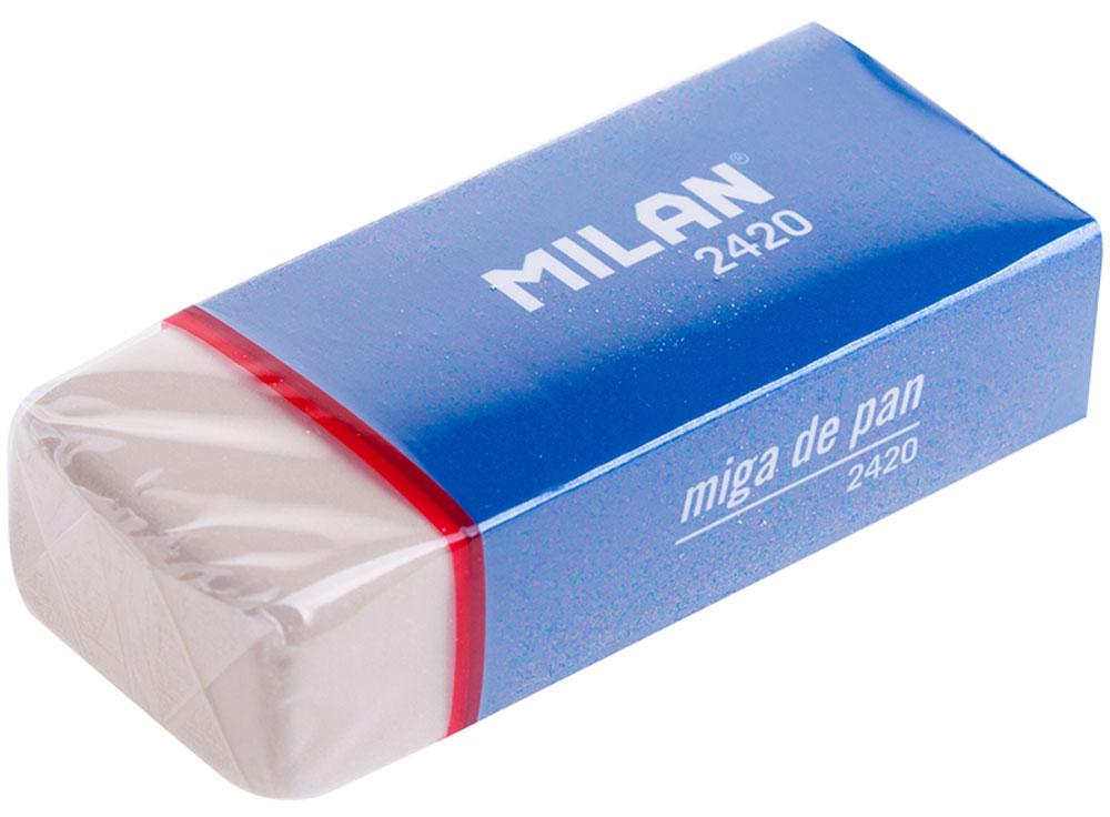 Milan Ластик 2420IRE100-10Мягкий ластик Milan из синтетического каучука подходит для удаления следов всех видов чернографитных карандашей с любых поверхностей. Удобный держатель делает работу с ластиком особенно комфортной.