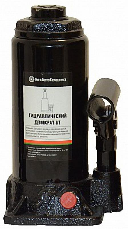 Домкрат бутылочный БелАвтоКомплект, 8 тABS-12 CГидравлический домкрат имеет ручной привод и компактную конструкцию. Использование уникальных резино-технических уплотнений позволяет сохранять полную герметичность. Чугун, из которого отливается корпус домкрата, обладает повышенной устойчивостью к агрессивным воздействиям внешней среды. Шток домкрата изготавливается из высокопрочной легируемой стали.Используемое в домкратах масло позволяет производить эксплуатацию в температурных режимах от +50 °C до -50 °C.Для изготовления гидравлических домкратов БелАвтоКомплект используется современное высокоточное оборудование ведущих концернов Германии и Японии. Каждый гидравлический домкрат БелАвтоКомплект проходит контроль качества ОТК на соответствие заданным параметрам.грузоподъемность - 8 тонныmax. высота подъема - 395 ммmin. высота подъема - 200 ммвес домкрата - 3,8 кг
