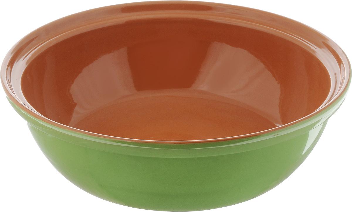 Салатник Борисовская керамика Модерн, цвет: салатовый, коричневый, 2,5 л115510Салатник Борисовская керамика Модерн выполнен из высококачественной глазурованной керамики. Этот большой и вместительный салатник придется по вкусу любителям здоровой и полезной пищи. Благодаря современной удобной форме, изделие многофункционально и может использоваться хозяйками на кухне как в виде салатника, так и для запекания продуктов, с последующим хранением в нем приготовленной пищи. Посуда термостойкая. Можно использовать в духовке и микроволновой печи.Диаметр (по верхнему краю): 28,5 см.Высота стенки: 8,5 см.