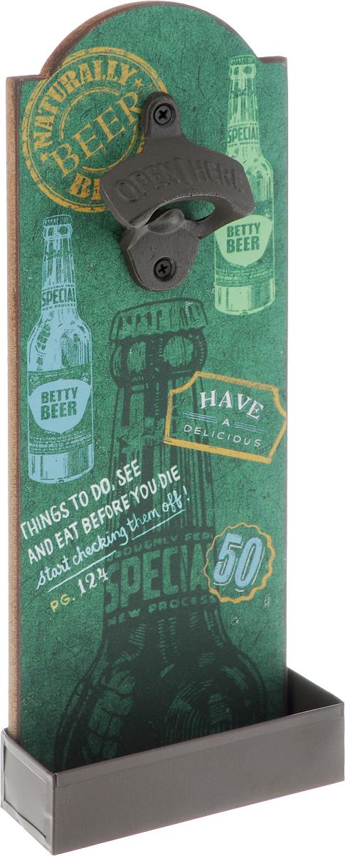 Ключ для открывания бутылок Magic Home Бар, настенный, 4,5 х 11,5 х 30 смГР- 1Ключ для открывания бутылок Magic Home Бар - это полезный и нужный прибор в каждом доме. Изделие, выполненное из чугунного литья, МДФ и оцинкованной стали, оснащено двумя отверстиями для подвешивания и украшено оригинальным изображением с лицевой стороны.