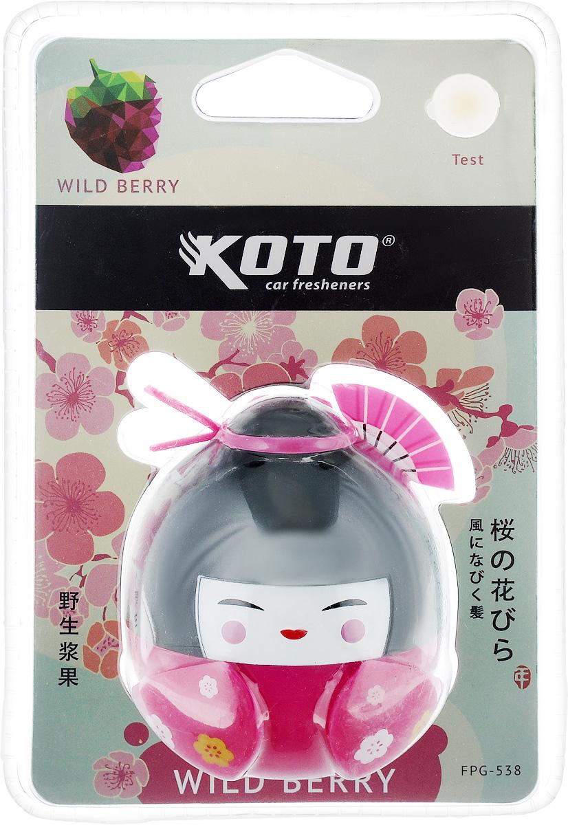 Ароматизатор автомобильный Koto Гейша. Wild berry, гелевый, 45 млДА-18/2+Н550Автомобильный ароматизатор Koto Гейша. Wild berry эффективно устраняет неприятные запахи и придает приятный аромат лесных ягод. Сочетание геля с парфюмами наилучшего качества обеспечивает устойчивый запах. Кроме того, ароматизатор обладает элегантным дизайном. Изделие можно разместить на горизонтальной поверхности, используя двухсторонний скотч.