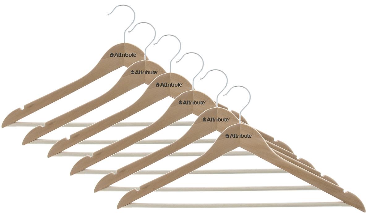 Набор вешалок для одежды Attribute Hanger Classic, изогнутые, 6 шт8812Набор Attribute Hanger Classic состоит из 6 вешалок для одежды, выполненных из стали и дерева. Изделия оснащены перекладинами с нескользящим ПВХ-покрытием и двумя выемками.Вешалка - это незаменимая вещь для того, чтобы ваша одежда всегда оставалась в хорошем состоянии.Комплектация: 6 шт.Размер вешалки: 44 х 22 х 1 см.