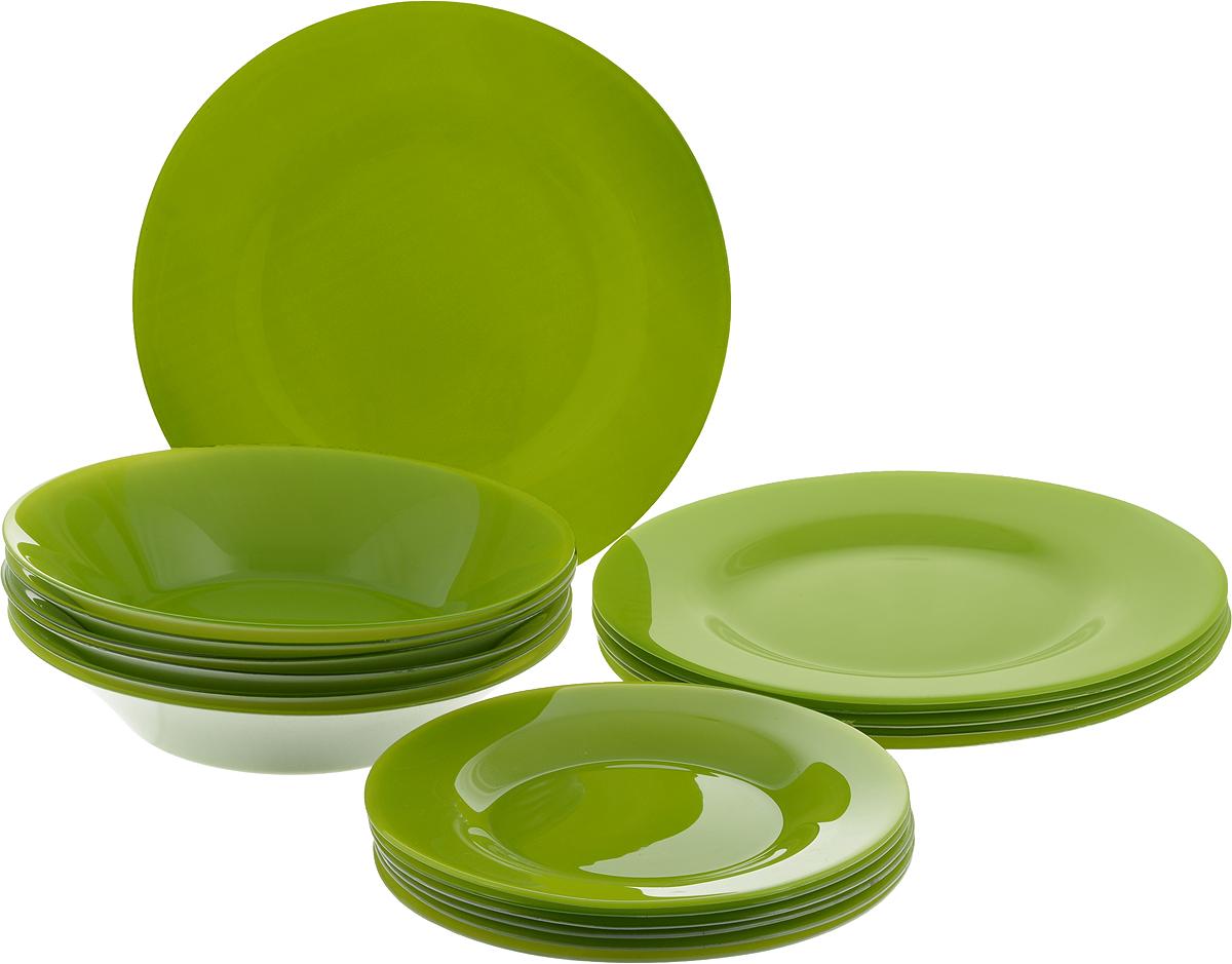 Набор тарелок Pasabahce Village, цвет: зеленый, 18 шт115610Набор Pasabahce Village состоит из 6 десертных тарелок, 6 глубоких тарелок и 6 обеденных тарелок, выполненных из высококачественного натрий-кальций-силикатного стекла. Изделия предназначены для красивой сервировки различных блюд. Набор сочетает в себе изысканный дизайн с максимальной функциональностью. Диаметр десертной тарелки: 19,3 см.Высота десертной тарелки: 1,8 см.Диаметр обеденной тарелки: 26 см.Высота обеденной тарелки: 2 см.Диаметр глубокой тарелки: 22 см.Высота глубокой тарелки: 4,8 см.