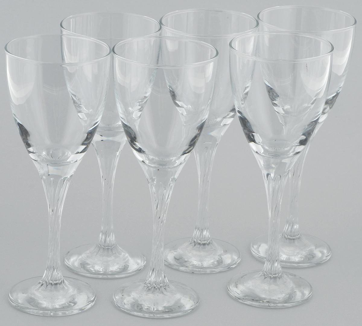 Набор бокалов для вина Pasabahce Twist, 205 мл, 6 штVT-1520(SR)Набор Pasabahce Twist состоит из шести бокалов, выполненных из прочного натрий-кальций-силикатного стекла. Изделия оснащены высокими ножками и предназначены для подачи вина. Они сочетают в себе элегантный дизайн и функциональность. Набор бокалов Pasabahce Twist прекрасно оформит праздничный стол и создаст приятную атмосферу за романтическим ужином. Такой набор также станет хорошим подарком к любому случаю.