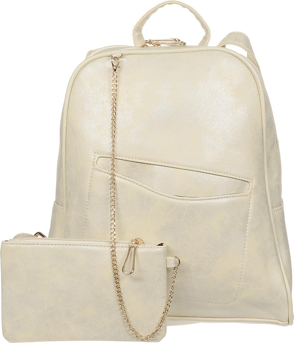 Рюкзак женский OrsOro, цвет: бежевый. D-238/12S76245Стильный рюкзак OrsOro, выполнен из экокожи и оснащен двумя плечевыми ремнями на спинке и удобной ручкой для переноски. Изделие имеет одно основное отделение и застегивается с помощью застежки-молнии. Внутри расположены три накладных кармана и врезной карман на застежке-молнии. Задняя сторона рюкзака дополнена врезным карманом на молнии, спереди расположен открытый прорезной карман. В комплект входит кошелек с подвеской.