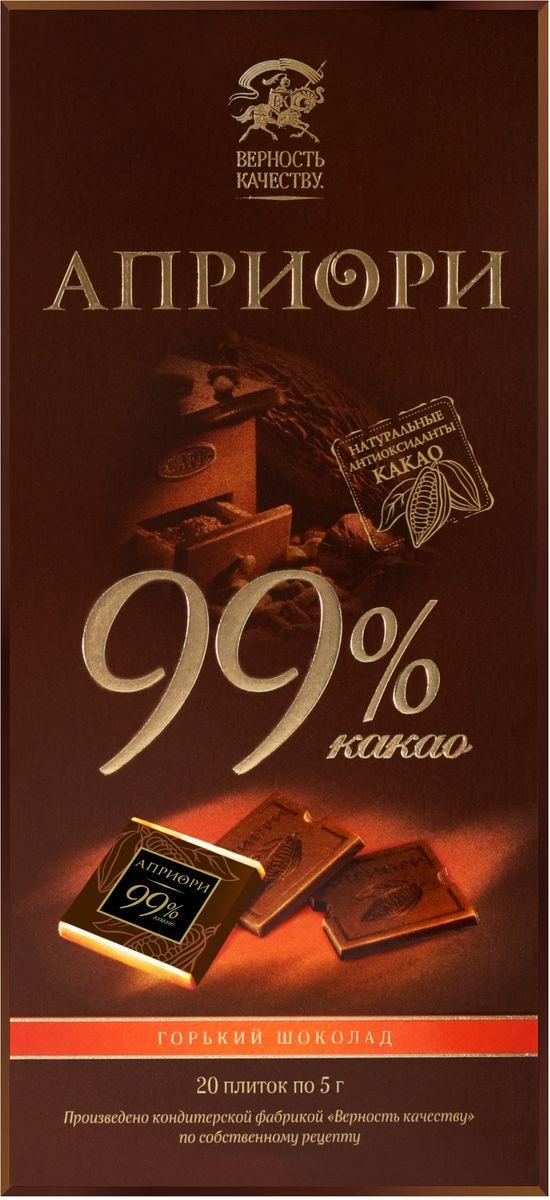 Априори горький шоколад 99%, 100 г8252867Благородный, терпкий, волнующий. Есть удовольствия, которые может оценить не каждый. Этот изысканный, богемный шоколад обязательно понравится людям с отличным вкусом. Он подарит им вдохновение и поистине уникальную гамму впечатлений.