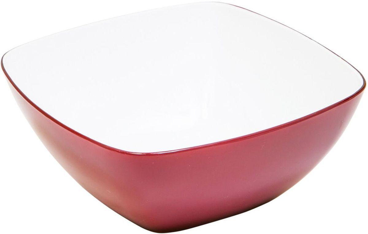Миска квадратная MoulinVilla, цвет: бургунди, 20 х 20 х 9 смL-20BКвадратная миска Moulinvilla, изготовленная из высококачественного акрила, благодаря оригинальному и привлекательному дизайну выполняет не только практичную, но и декоративную функцию. Белый цвет внутренней поверхности и сочный, интенсивный цвет снаружи отлично контрастируют, привлекая к себе внимание.Миска подойдет для сервировки салатов, фруктов, закусок, десертов, печенья, сладостей и других продуктов.Подходит для мытья в посудомоечной машине.