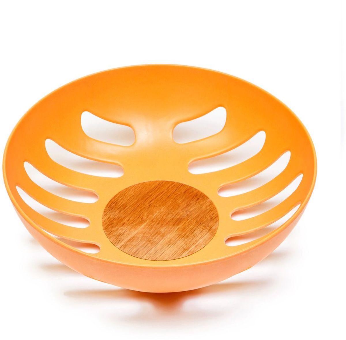 Фруктовница MoulinVilla, цвет: оранжевый, 21,8 х 21,8 х 6,3 см115510Фруктовница MOULINvilla, изготовленная из природного бамбука, очищенного от вредных примесей идеально подходит для хранения и красивой сервировки любых фруктов. Для окраски используются натуральные пищевые красители. Бамбук, сам по себе, является природным антисептиком. Эта уникальная особенность посуды гарантирует безопасность при эксплуатации и хранении различных видов пищевой продукции. Можно мыть в посудомоечной машине.