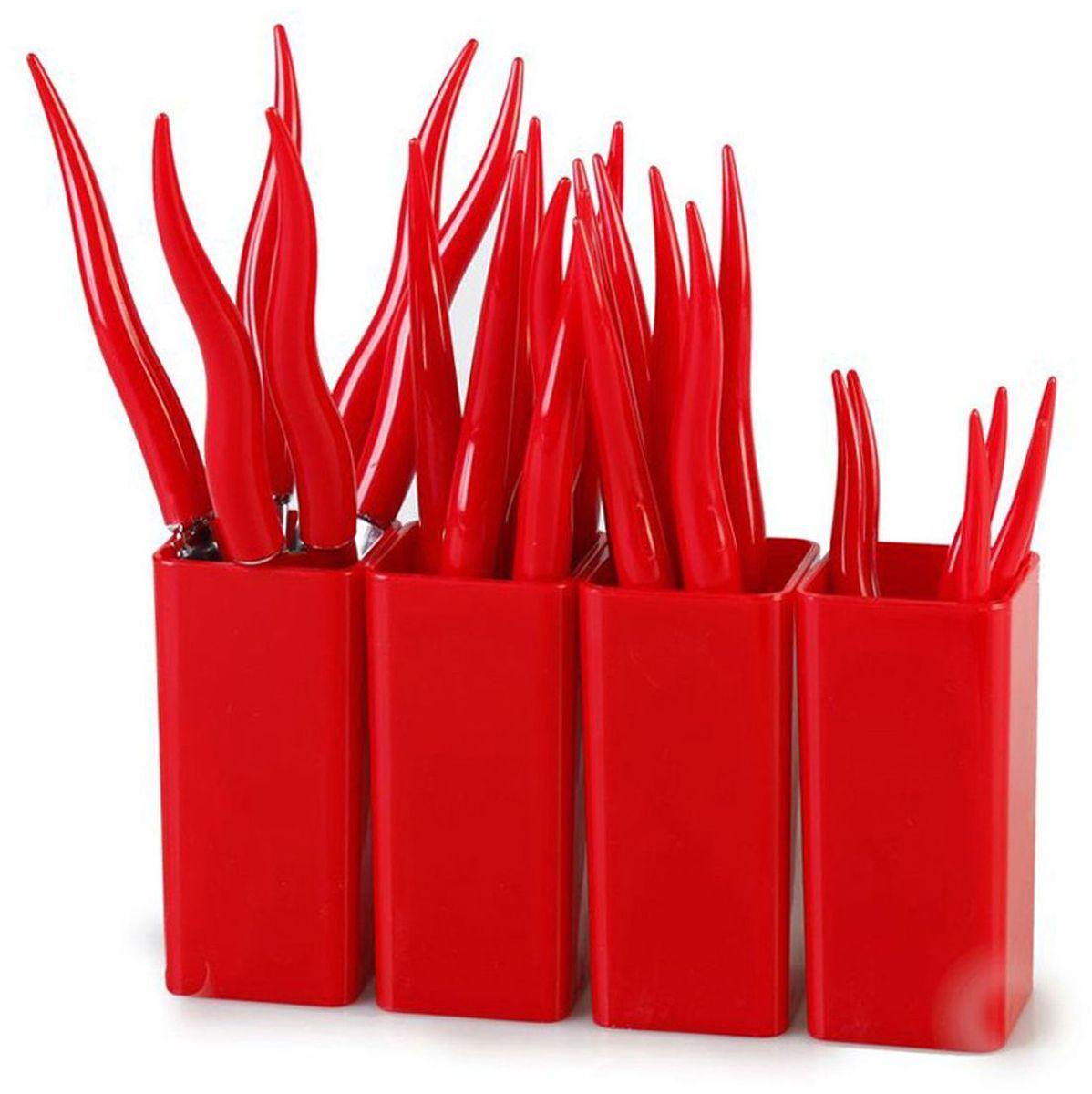Набор столовых приборов MoulinVilla Chili, цвет: красный, 24 предмета115510Набор MOULINvilla Chili состоит из 6 вилок, 6 ножей, 6 столовых ложек, 6 чайных ложек, 4 подставок, выполненных из нержавеющей стали. Рукоятки столовых приборов изготовлены из высокопрочного пластика. Сервировка праздничного стола таким набором станет великолепным украшением любого торжества.