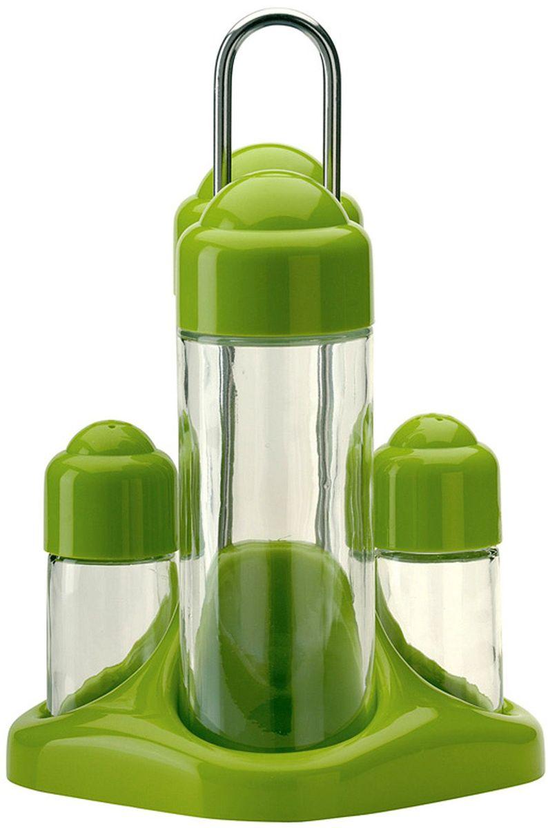 Набор емкостей для масла MoulinVilla, цвет: зеленый, 4 предметаВетерок 2ГФВ набор входит две емкости для масла и уксуса, а также солонка и перечница. Емкости выполнены из прочного стекла с пластиковыми крышками. Герметичные крышки обеспечиваютдолгое хранение жидкостей. В набор входит металлическая подставка.Яркий оригинальный набор станет изысканным украшением интерьера вашей кухни.