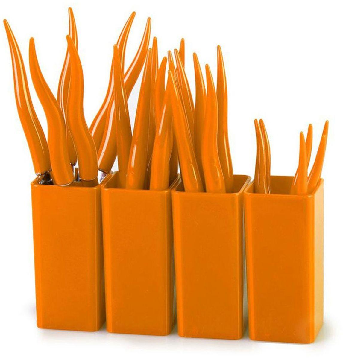Набор столовых приборов MoulinVilla Chili, цвет: оранжевый, 24 предмета115610Набор MOULINvilla Chili состоит из 6 вилок, 6 ножей, 6 столовых ложек, 6 чайных ложек, 4 подставок, выполненных из нержавеющей стали. Рукоятки столовых приборов изготовлены из высокопрочного пластика. Сервировка праздничного стола таким набором станет великолепным украшением любого торжества.
