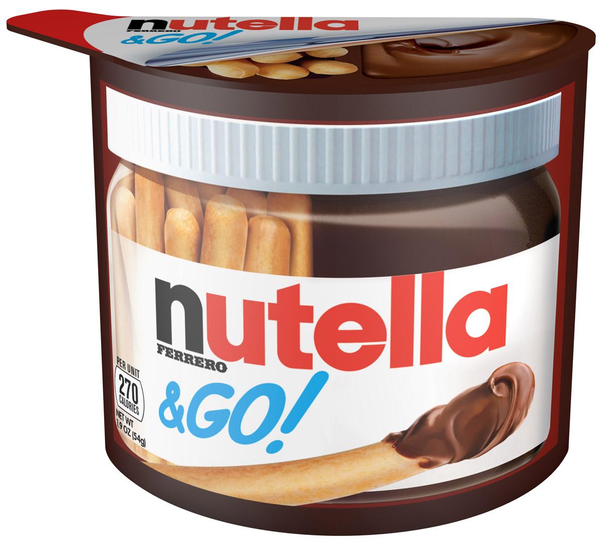 Nutella&Go: набор из хлебных палочек и пасты ореховой Nutella с добавлением какао, 52 г0120710Nutella обладает неповторимым вкусом лесных орехов и какао, а ее нежная кремовая текстура делает вкус еще интенсивнее. Секрет уникального вкуса в особенном рецепте, отборных ингредиентах и тщательном приготовлении. При производстве Nutella не используются консерванты и красители. Сегодня Nutella является одной из самых узнаваемых и любимых марок в мире, продуктом, продажи которого составляют треть годового оборота компании Ferrero. Хороший день начинается с Nutella!