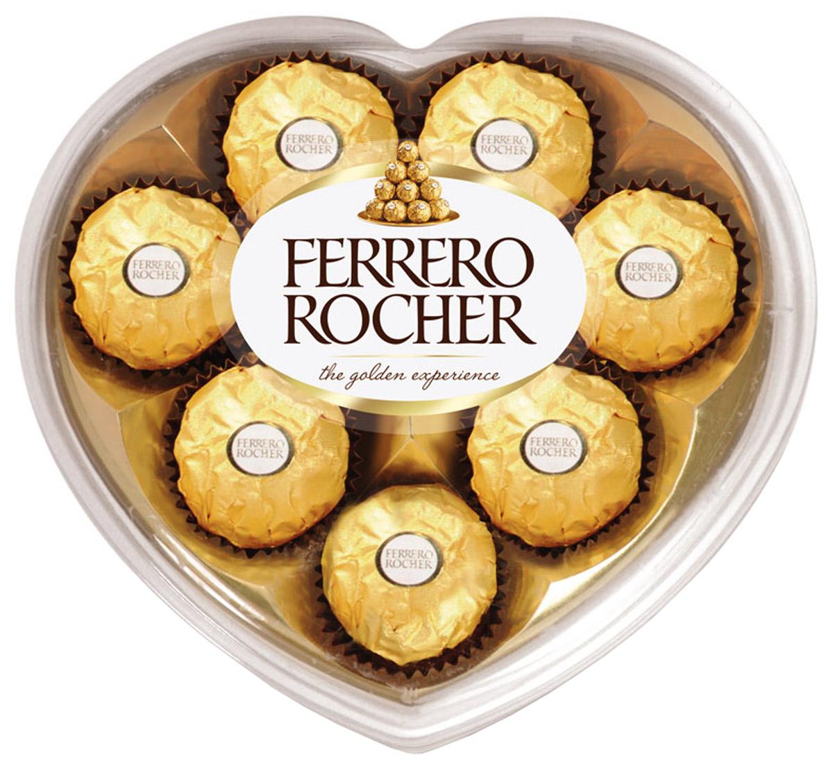 Ferrero Rocher конфеты хрустящие из молочного шоколада, покрытые измельченными орешками, с начинкой из крема и лесного ореха, 100 г8253164Отборный цельный лесной орех в окружении молочного шоколада и нежного орехового крема, заключенные в хрустящую вафельную оболочку, покрытую шоколадно-ореховой крошкой.