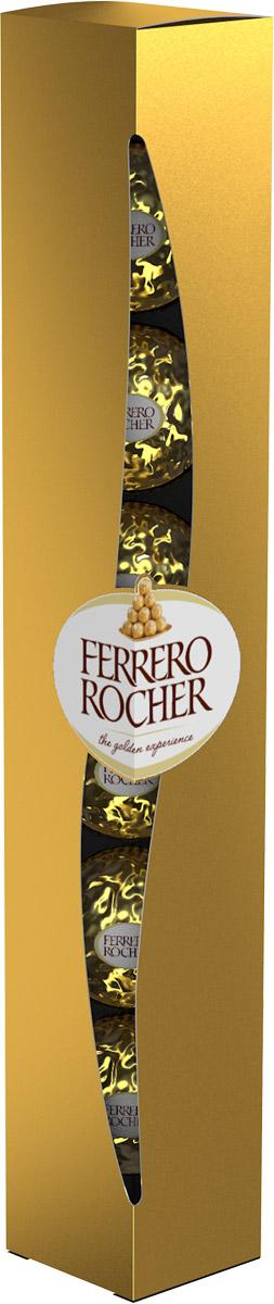 Ferrero Rocher Тубо конфеты хрустящие из молочного шоколада, покрытые измельченными орешками, с начинкой из крема и лесного ореха, 75 гP110812415Отборный цельный лесной орех в окружении молочного шоколада и нежного орехового крема, заключенные в хрустящую вафельную оболочку, покрытую шоколадно-ореховой крошкой.