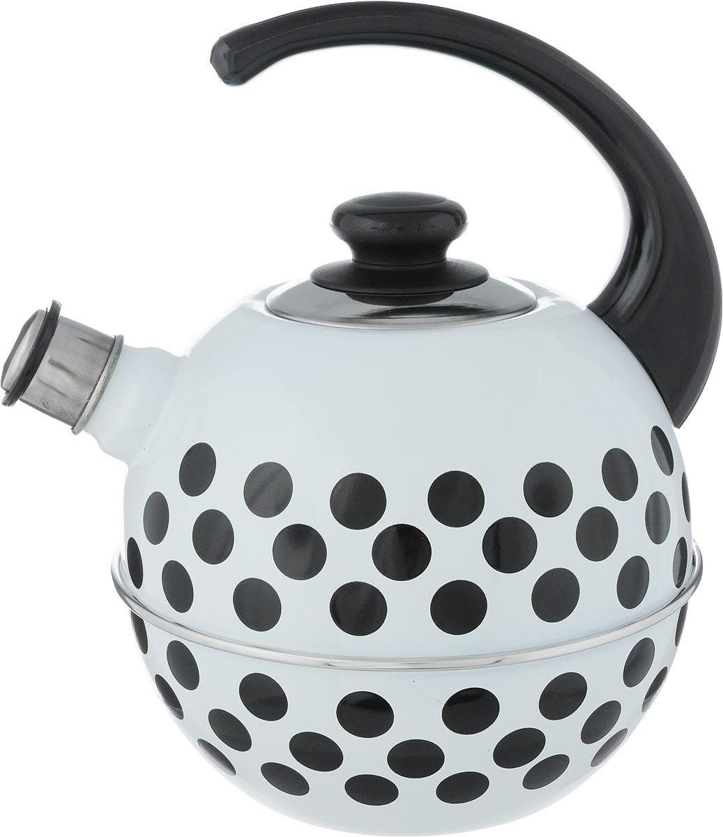 Чайник эмалированный Рубин Горох, со свистком, цвет: белый, черный, 3,5 лVT-1520(SR)Чайник Рубин Горох выполнен из высококачественного стального проката, что обеспечивает долговечность использования. Внешнее трехслойное эмалевое покрытие Mefrit не вступает во взаимодействие с пищевыми продуктами. Такое покрытие защищает сталь от коррозии, придает посуде гладкую стекловидную поверхность и надежно защищает от кислот и щелочей. Чайник оснащен фиксированной ручкой из пластика и крышкой, которая плотно прилегает к краю. Носик чайника оснащен съемным свистком, звуковой сигнал которого подскажет, когда закипит вода. Можно мыть в посудомоечной машине. Пригоден для всех видов плит, включая индукционные. Высота чайника (с учетом ручки): 28 см.Высота чайника (без учета крышки и ручки): 18 см.Диаметр по верхнему краю: 8,7 см.