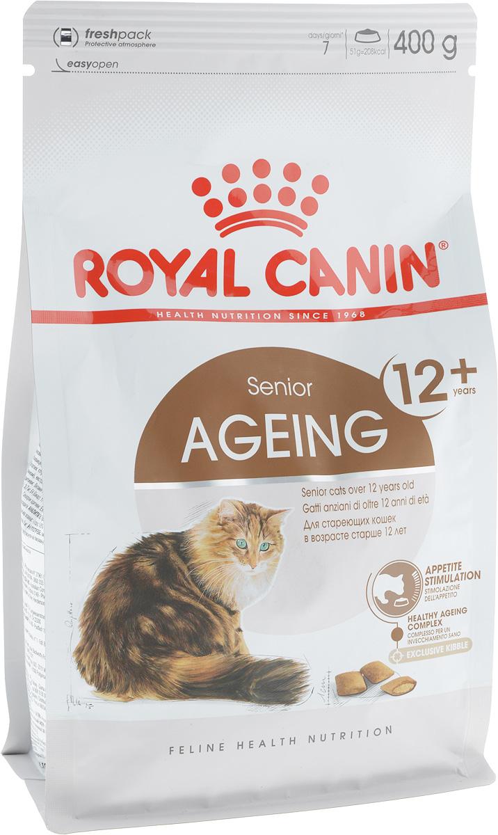 Корм сухой Royal Canin Ageing +12, для кошек старше 12 лет, 400 г0120710Сухой корм Royal Canin Ageing +12 - это полнорационное питание для стареющих кошек старше 12 лет. У кошек старше 12 лет процесс клеточного старения ускоряется, однако признаки его очень различаются у разных кошек. У некоторых кошек они вообще незаметны, тогда как у других наглядно проявляются физические и поведенческие изменения.Явные признаки старения, которые необходимо отслеживать у кошки:- потеря в весе, - снижение активности, - более жесткая шерсть,- поведенческие изменения,- отсутствие аппетита,- кошка становится привередливее в еде.Корм Royal Canin Ageing +12 помогает противостоять клеточному старению кошек, благодаря запатентованному комплексу антиоксидантов и полифенолам зеленого чая. Такой корм стимулирует когнитивную функцию за счет аминокислот, а повышенное содержание незаменимых жирных кислот поддерживает здоровье суставов стареющих кошек.Корм Royal Canin Ageing +12 способствует поддержанию здоровья почек стареющих кошек за счет значительно пониженного адаптированного уровня фосфора (0,6%).А также помогает стимулировать аппетит стареющих кошек, благодаря высокой вкусовой привлекательности и особой двойной текстуре крокет с хрустящей оболочкой и мягкой начинкой.Товар сертифицирован.