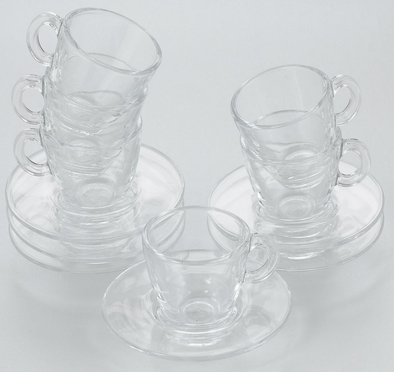 Набор чайный Pasabahce Aqua, 12 предметов. 95756BT115510Чайный набор Pasabahce Aqua состоит из шести чашек и шести блюдец. Предметы набора изготовлены из прочного натрий-кальций-силикатного стекла. Изящный чайный набор великолепно украсит стол к чаепитию и порадует вас и ваших гостей ярким дизайном и качеством исполнения.Диаметр чашки: 5,8 см. Диаметр блюдца: 10,2 см.