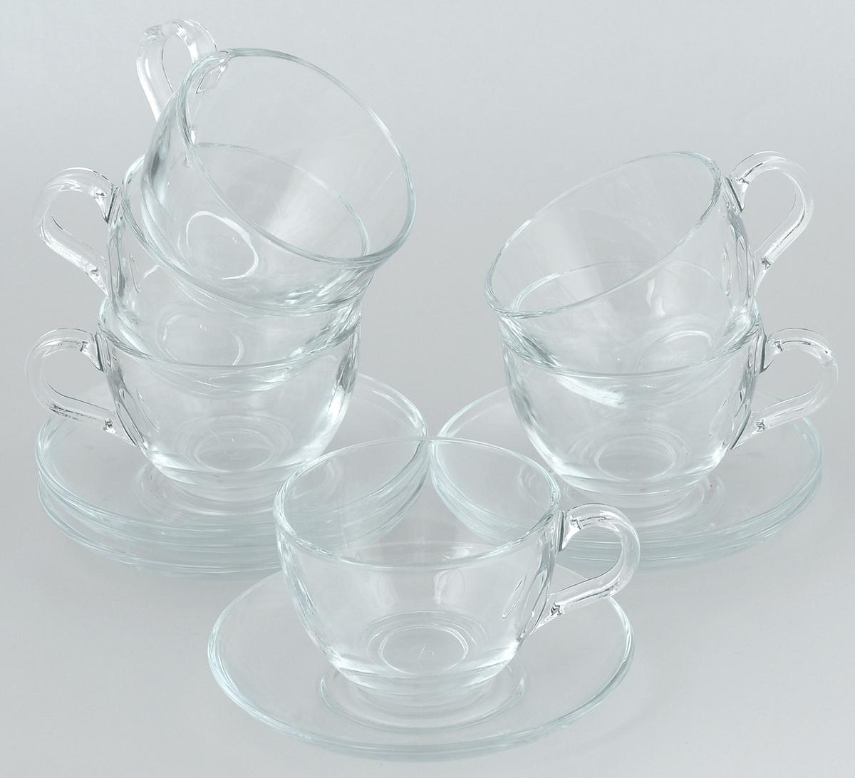 Набор чайный Pasabahce Basic, 12 предметов. 97948BTVT-1520(SR)Чайный набор Pasabahce Basic состоит из шести чашек и шести блюдец. Предметы набора изготовлены из прочного натрий-кальций-силикатного стекла. Изящный чайный набор великолепно украсит стол к чаепитию и порадует вас и ваших гостей ярким дизайном и качеством исполнения.Объем чашки: 215 мл.Высота чашки: 6,5 см.Диаметр чашки: 9 см.Диаметр блюдца: 13,5 см.