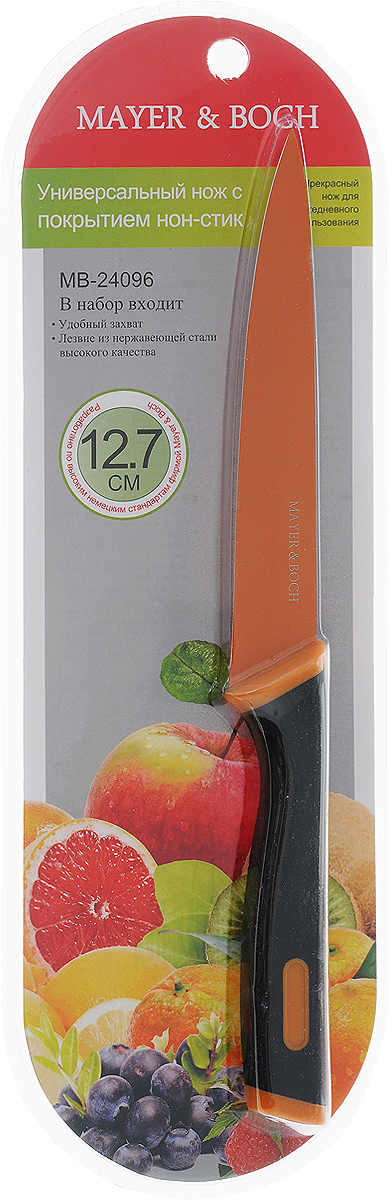 Нож универсальный Mayer & Boch, цвет: черный, оранжевый, длина лезвия 12,7 см1016008Универсальный нож Mayer & Boch с лезвием из высококачественной нержавеющей стали станет незаменимым помощником на вашей кухне. Изделие имеет специальное Non-Stick покрытие, предотвращающее прилипание продуктов к лезвию ножа. Сечение ножа клинообразное, что позволяет режущей кромке клинка быть продолжительное время острой. Поверхность клинка легко моется и не впитывает запахи пищи при нарезке различных продуктов. Этот универсальный нож идеально подойдет для нарезки мяса, рыбы, овощей, фруктов и других продуктов. Эргономичная рукоятка ножа с прорезиненным покрытием удобно ложится в ладонь, обеспечивая безопасную работу, комфортное положение в руке и надежный захват. Общая длина ножа: 24 см.