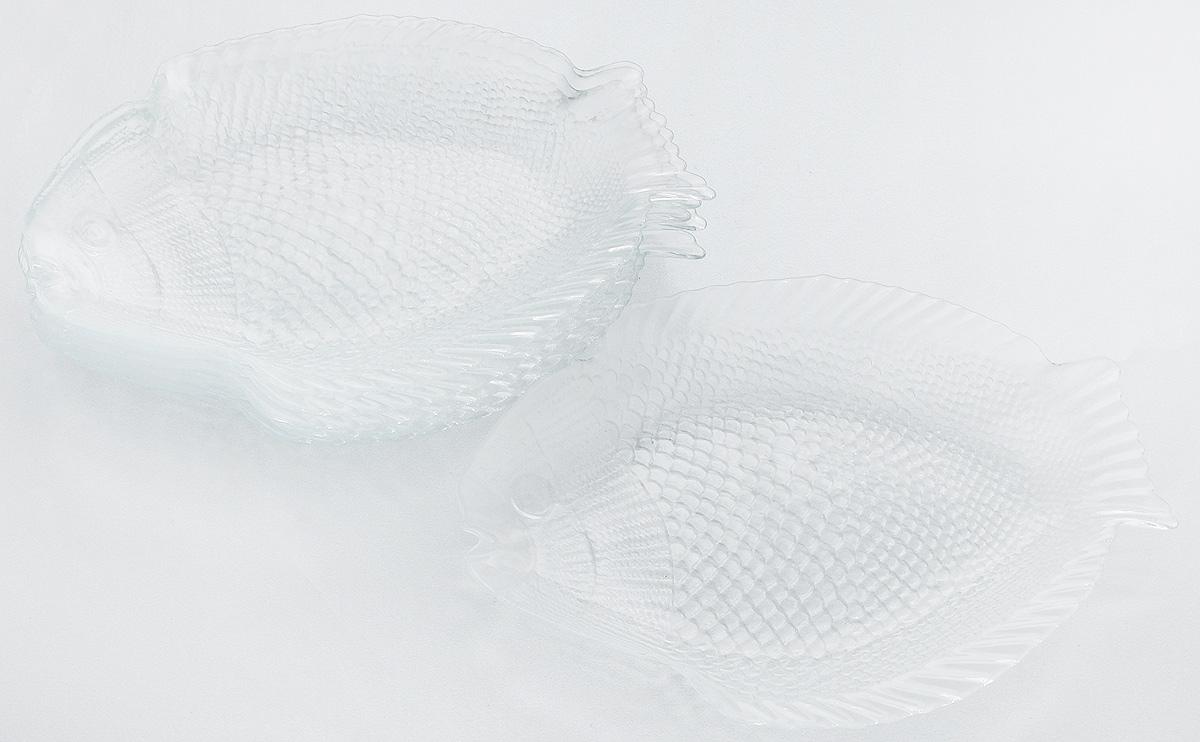 Набор тарелок Pasabahce Marine, 26 х 20,6 см, 6 штAJSARN11025Набор Pasabahce Marine состоит из 6 тарелок, выполненных из высококачественного натрий-кальций-силикатного стекла в форме рыбы. Изделия предназначены для красивой сервировки различных блюд. Набор сочетает в себе изысканный дизайн с максимальной функциональностью.Размер тарелки: 26 х 20,6 см.